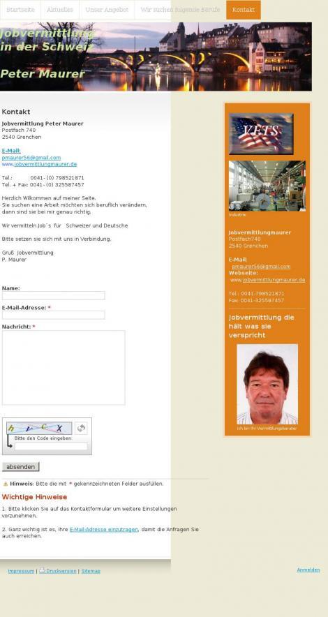 Jobvermittlung Peter Maurer • Grenchen • Solothurn •